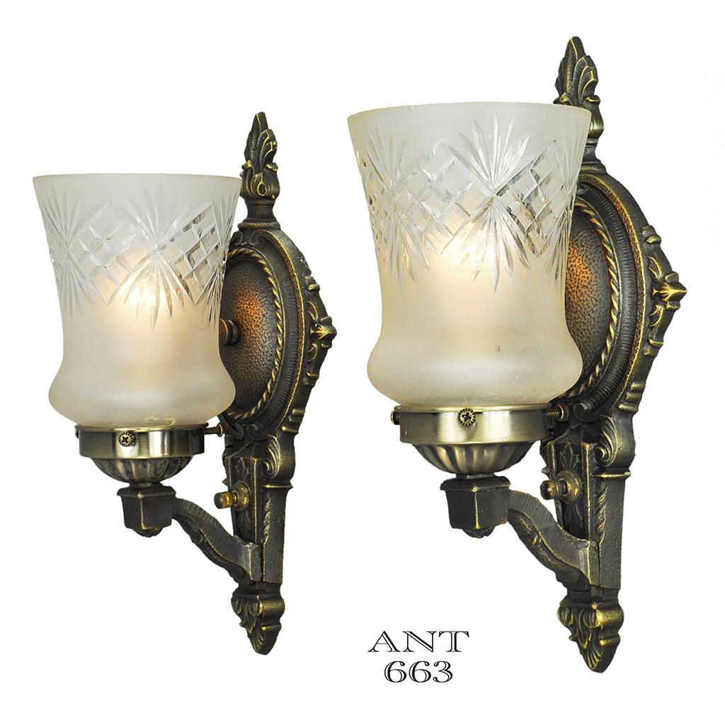 Vintage Glass Wall Sconces : Edwardian Wall Sconces Pair of Antique Lights and Cut Glass Shades (ANT-663) For Sale Antiques ...