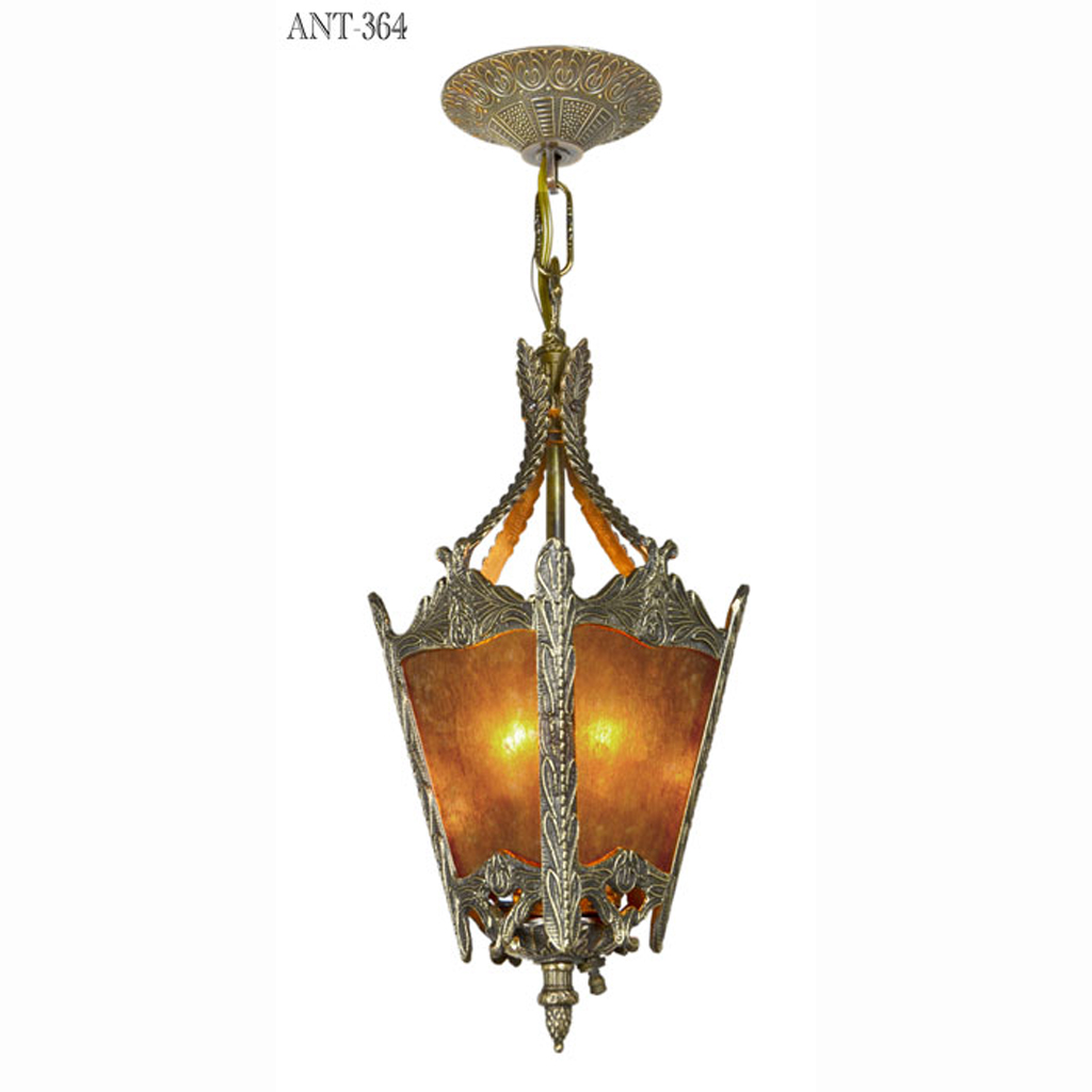 Arts And Crafts Style Antique Mica Panel Hall Lantern