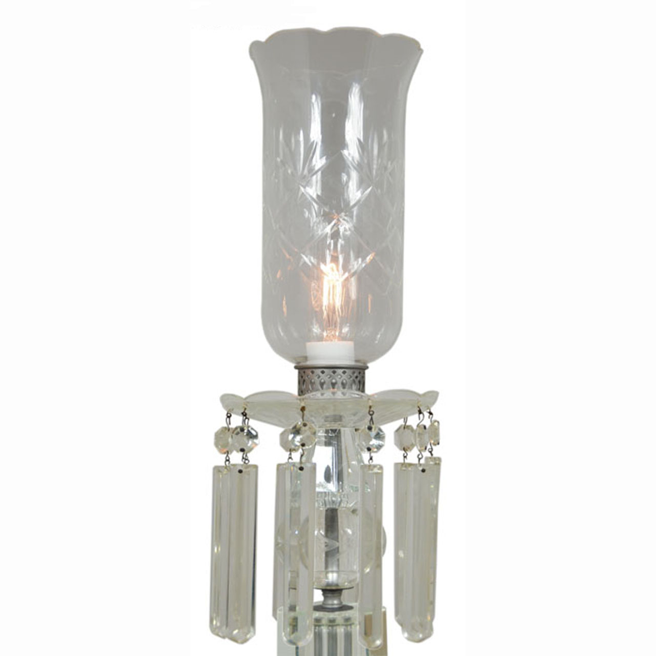 Crystal Chandelier Table Lamps For Sale: Outstanding Pair Of Period Edwardian Cut Crystal Hurricane