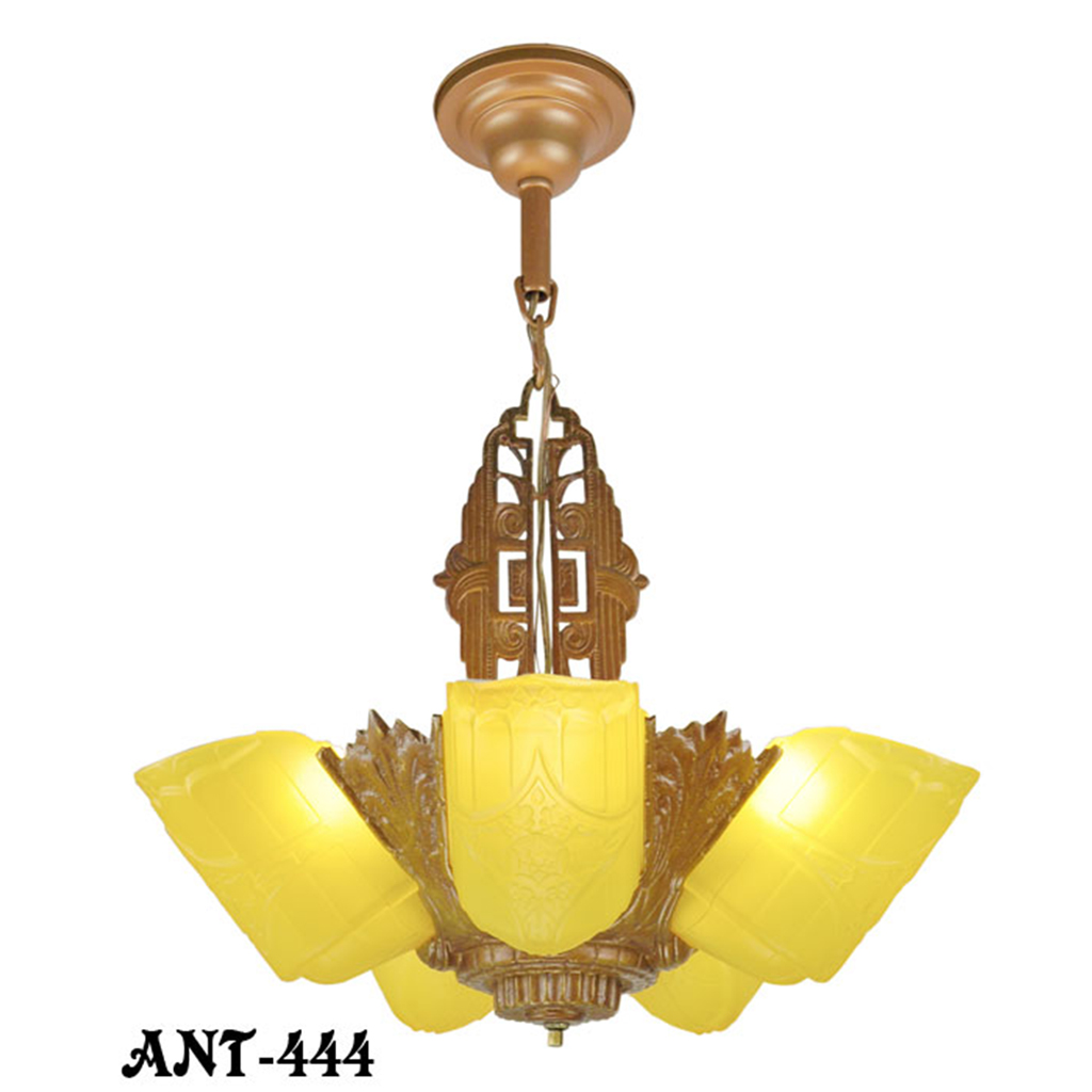 Art Deco Antique Chandelier 5 Light Amber Slip Shade Gold