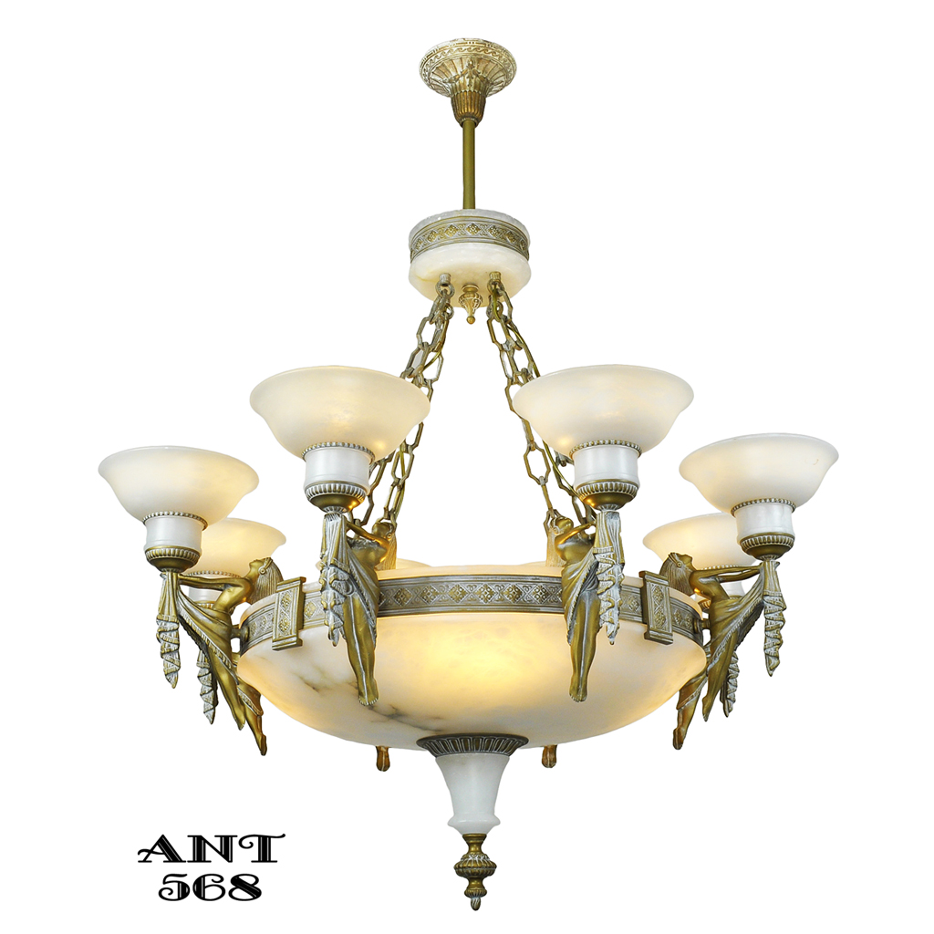 Art deco grand alabaster bowl chandelier antique eight light art deco grand alabaster bowl chandelier antique eight light fixture ant 568 for sale antiques classifieds mozeypictures Gallery