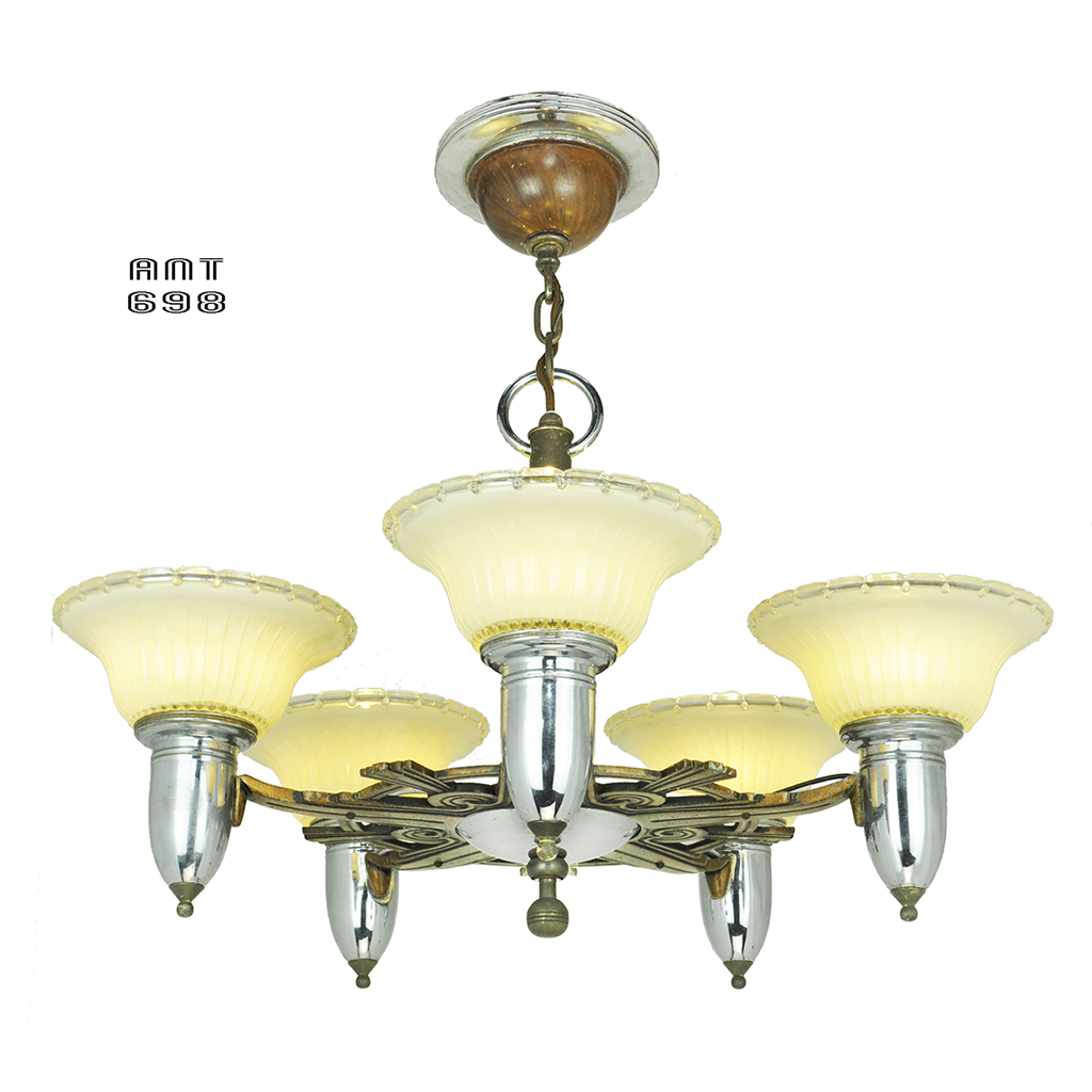 Art deco streamline style chandelier antique 5 light for Old looking light fixtures