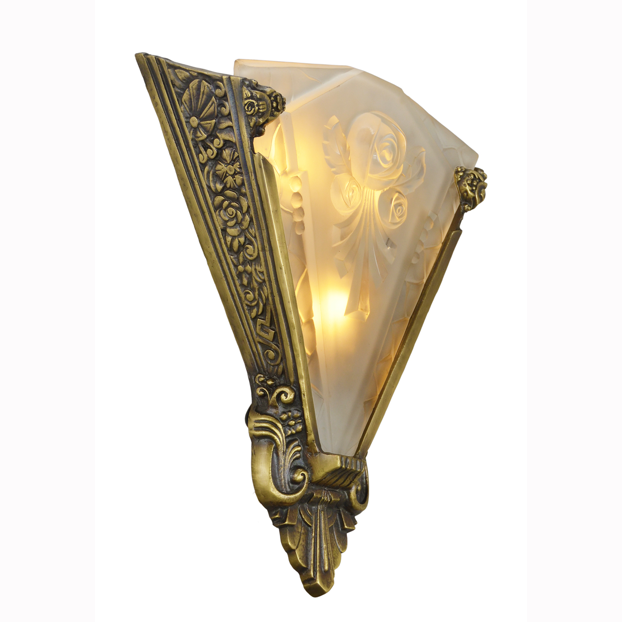 Pair of Large Wall Sconces Lighting with Antique French Shades (ANT-400) For Sale Antiques.com ...