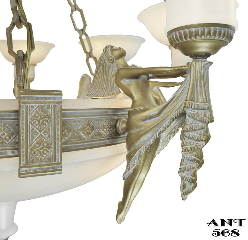 art deco grand alabaster bowl chandelier antique eight light fixture ant 568 for sale. Black Bedroom Furniture Sets. Home Design Ideas