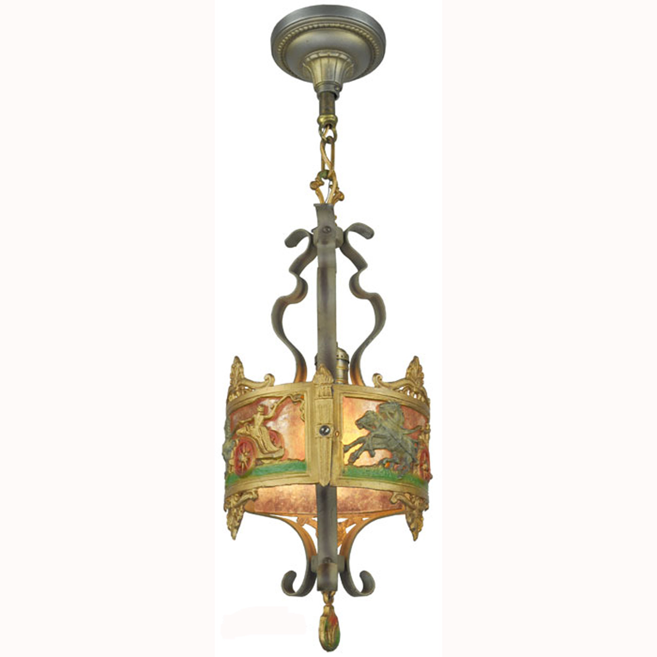 Antique Americana Pendant Ceiling Light With Roman Greek