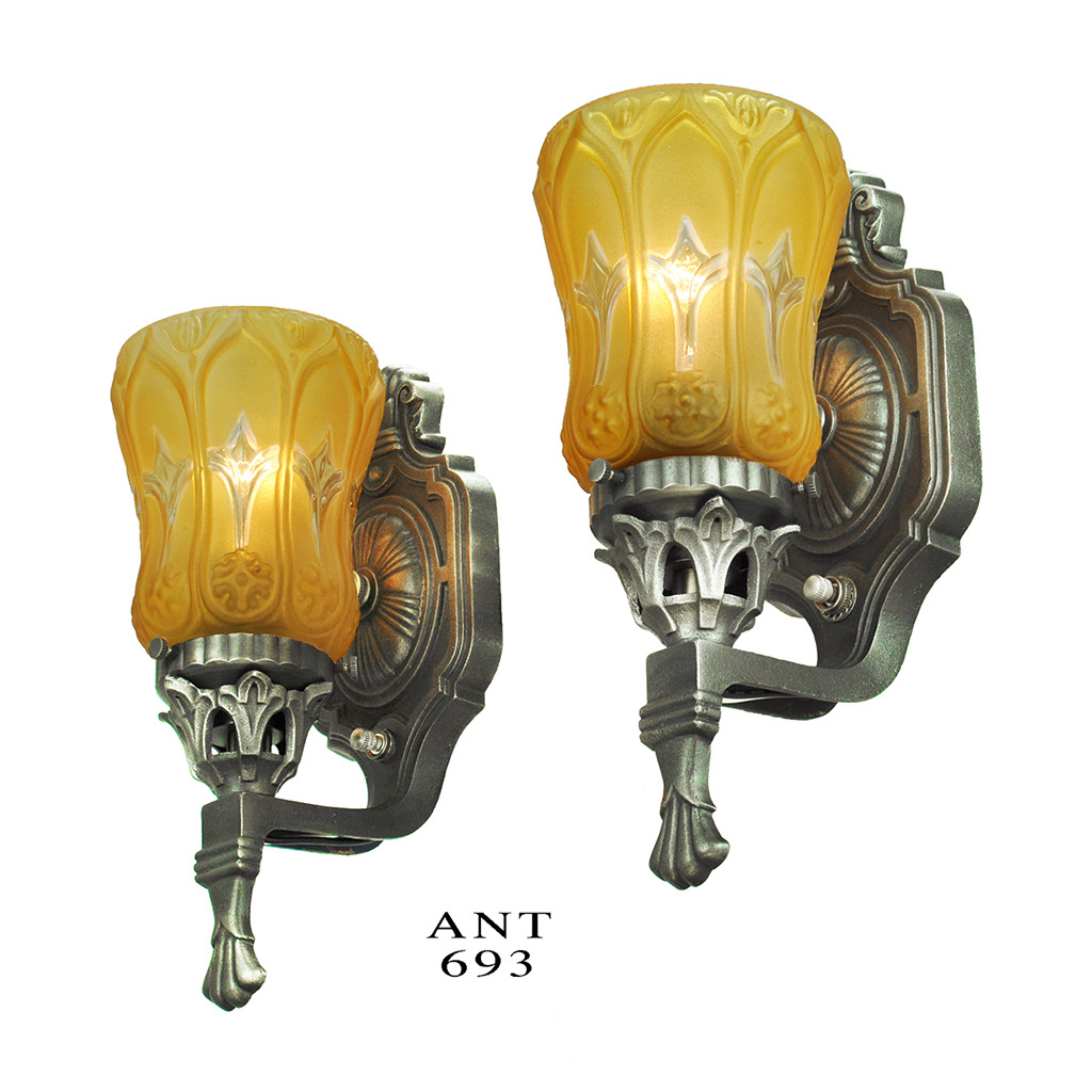 Antique Wall Sconces Pair Of Edwardian Style Lights With Amber Shades  (ANT 693) For Sale | Antiques.com | Classifieds