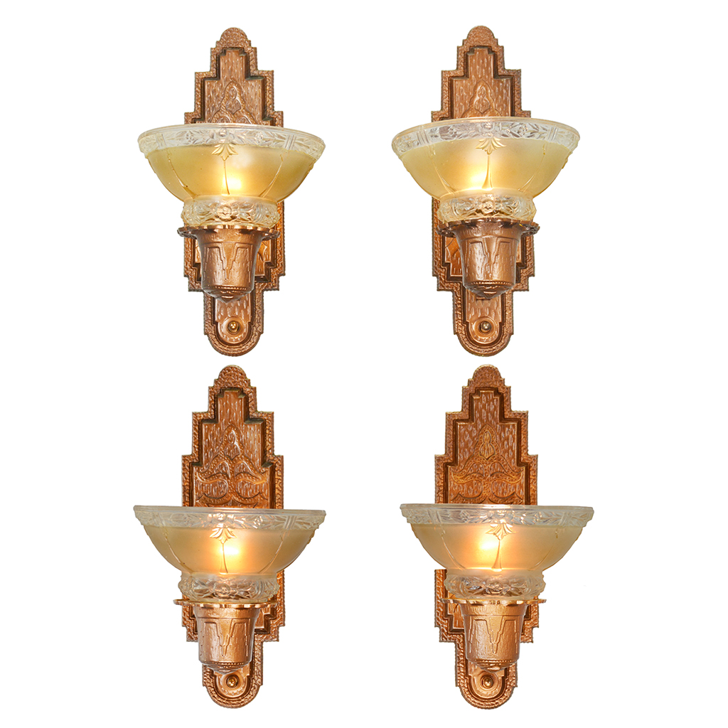 Lighting Fixtures Sale: Set Of Four Antique Red Bronze Finish Sconces Circa 1910s