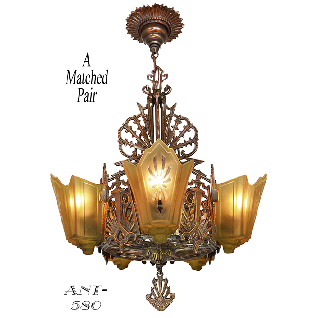antique art deco chandeliers 1930s slip shade ceiling lights pair ant 580 for sale. Black Bedroom Furniture Sets. Home Design Ideas