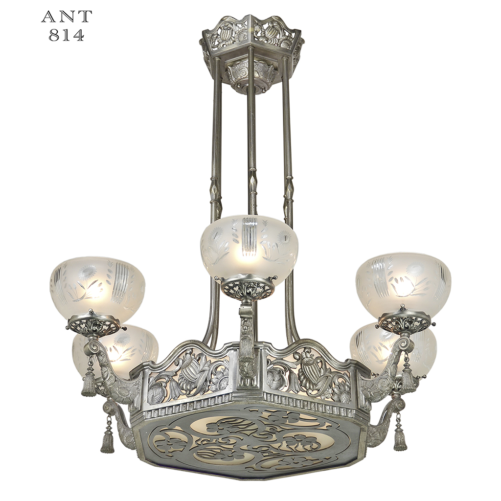 Art Nouveau or Deco French Chandelier Antique Ceiling ...