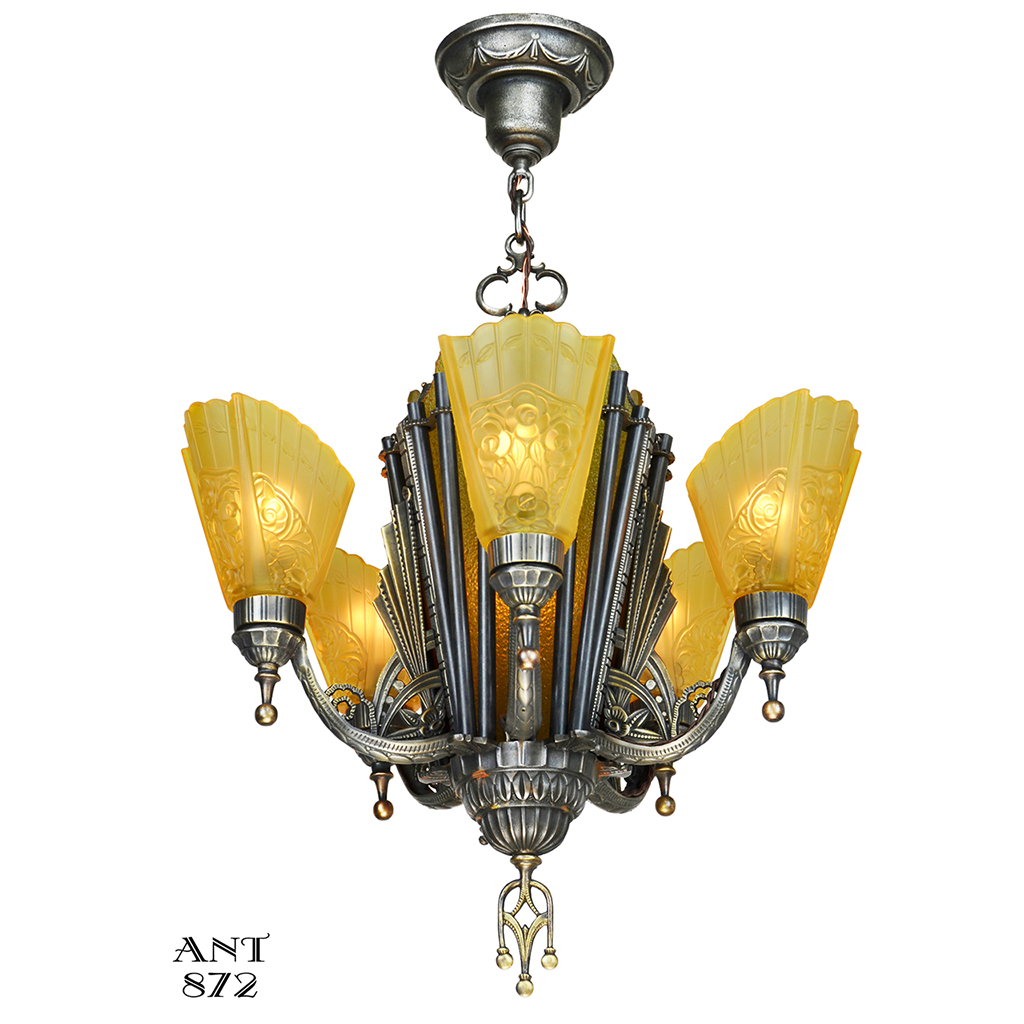 Antique deco chandelier 1930s 5 arm 6 light hanging ceiling fixture antique deco chandelier 1930s 5 arm 6 light hanging ceiling fixture ant 872 for sale arubaitofo Gallery