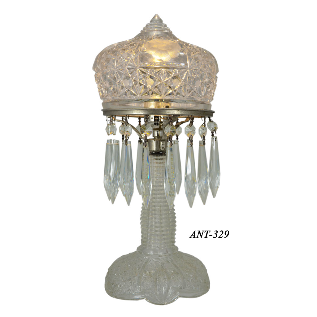 1920's + Press-Cut Small Clear Glass Bedroom Table Lamp ...
