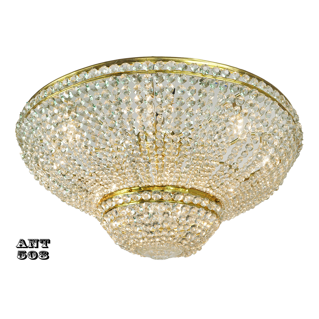 Crystal Semi Flush Mount Ceiling Light Large Diameter Vintage - Vintage chandelier crystals for sale