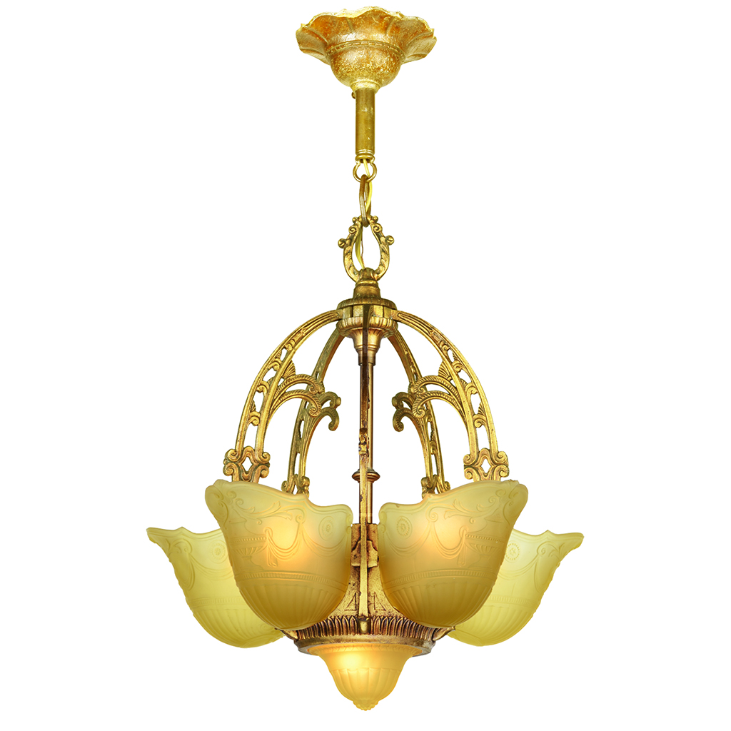 Art Deco Top Of The Line 6 Shade Chandelier