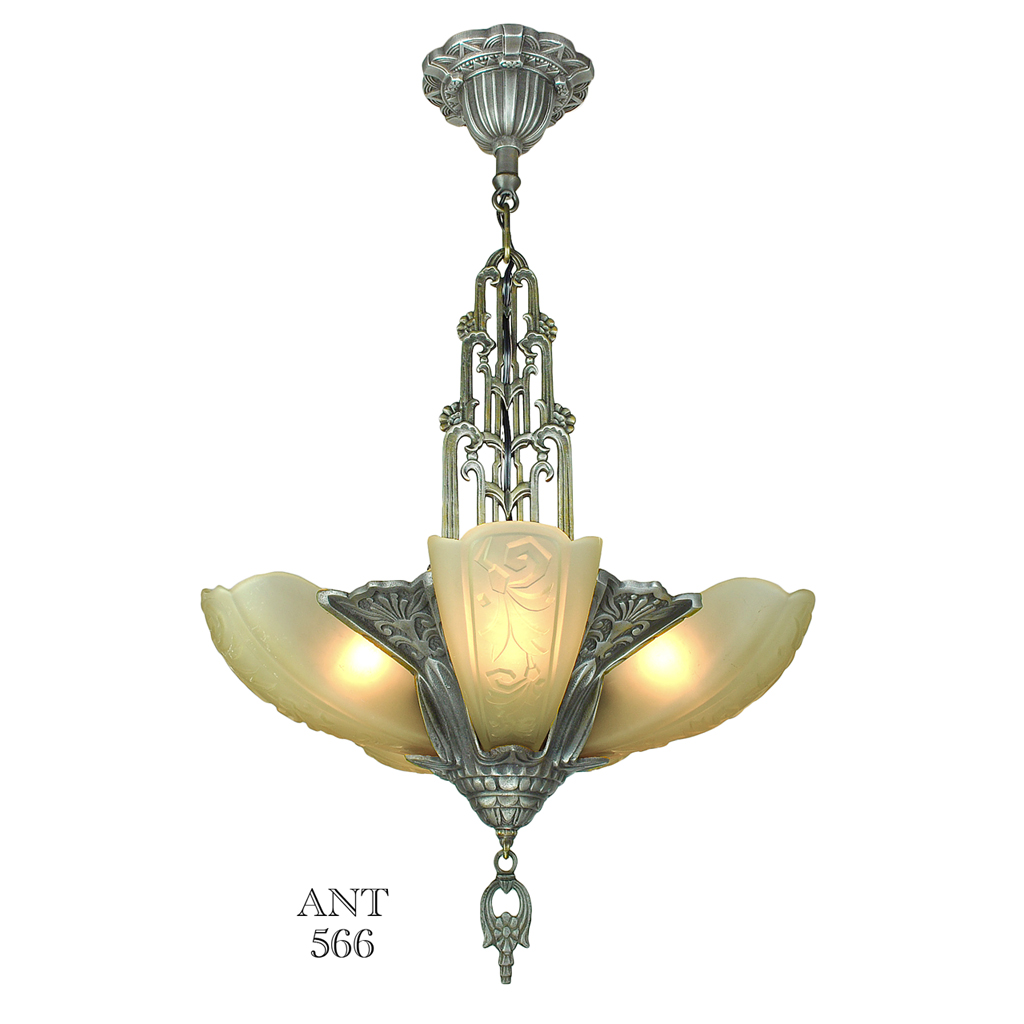 Art Deco American 5 Light Slip Shade Chandelier Globe