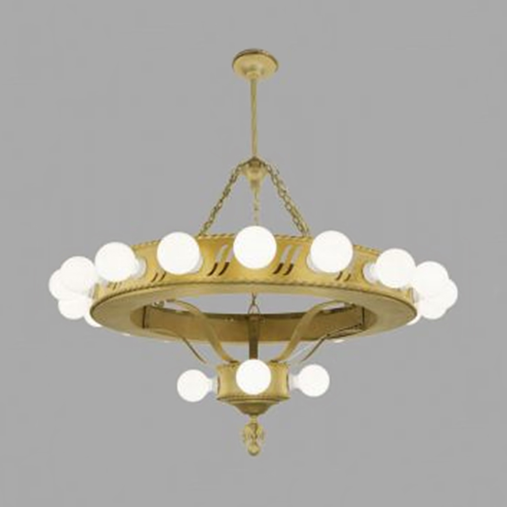 Large bare bulb 1920s chandelier big antique commercial light fixture ant 454 for sale - Light fixture chandelier ...