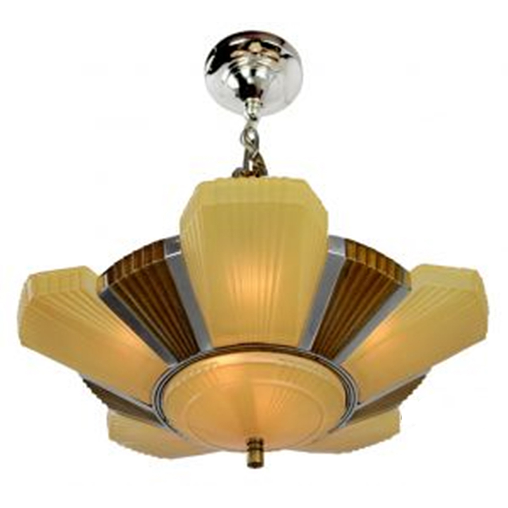 Antique Art Deco Streamline Chandelier by Mid-West Mnf Beverly 6 Light  (ANT-417) - For Sale - Antique Art Deco Streamline Chandelier By Mid-West Mnf Beverly 6