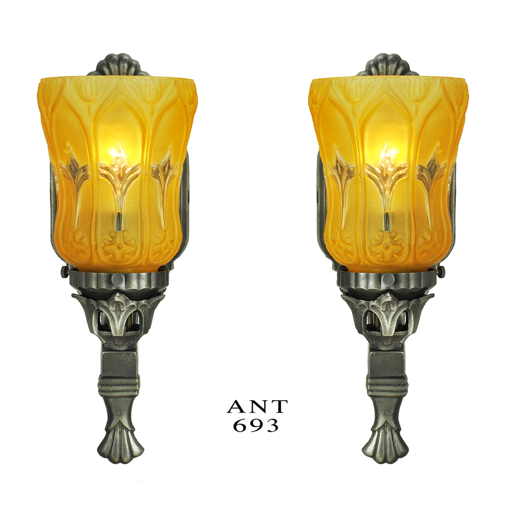 Antique Wall Sconces Pair Of Edwardian Style Lights With Amber Shades Ant 693 For