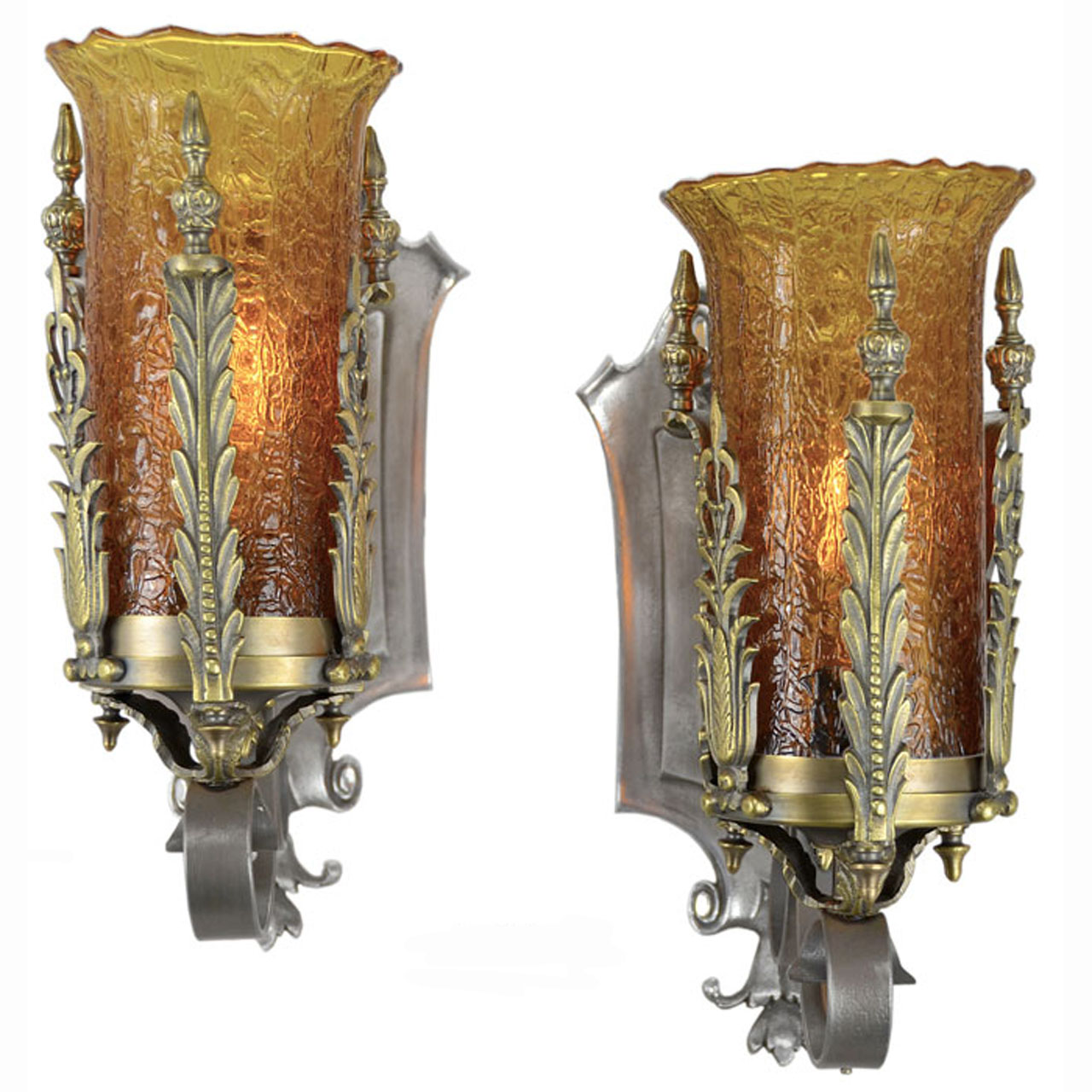 Pair of Antique 1920s - 1930s Art Deco Wall Sconces with Crackle Glass Shades (ANT-367) For Sale ...
