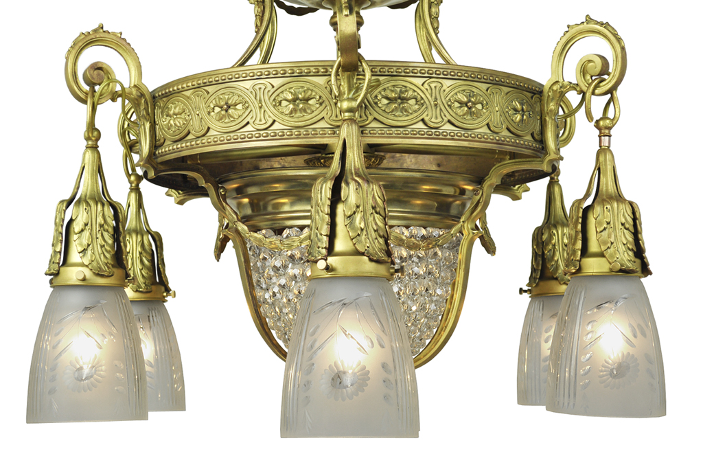 Antique Crystal Chandelier 6 Arm Ceiling Light Fixture