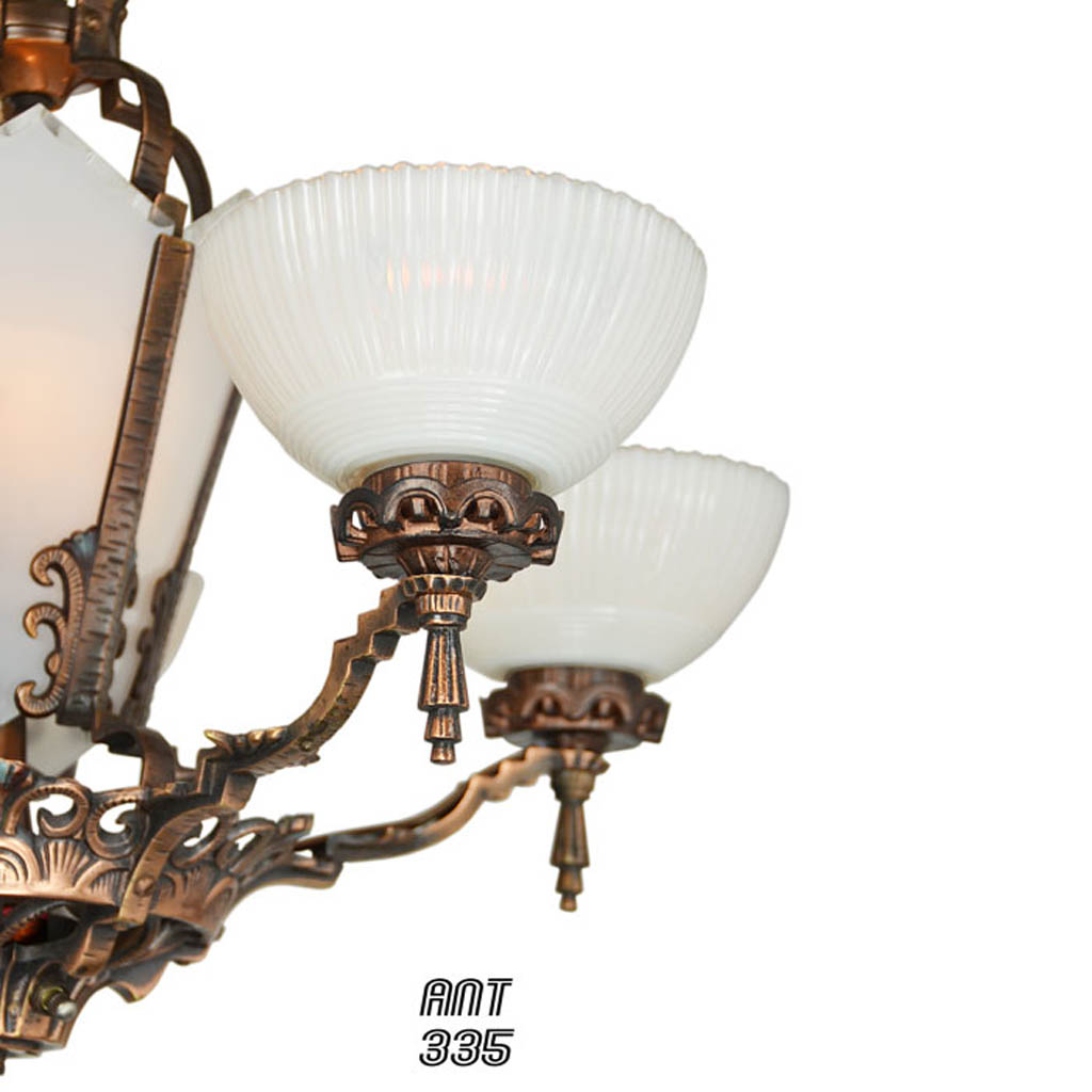 Antique restored red bronzed finished art deco chandelier ant 335 antique restored red bronzed finished art deco chandelier ant 335 for sale arubaitofo Gallery