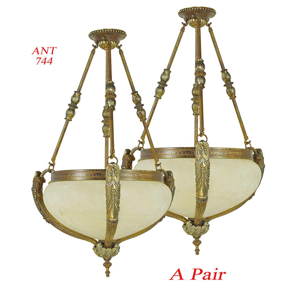 Vintage rewired pair of edwardian chandeliers ceiling bowl lights vintage rewired pair of edwardian chandeliers ceiling bowl lights ant 744 for sale antiques classifieds mozeypictures Gallery