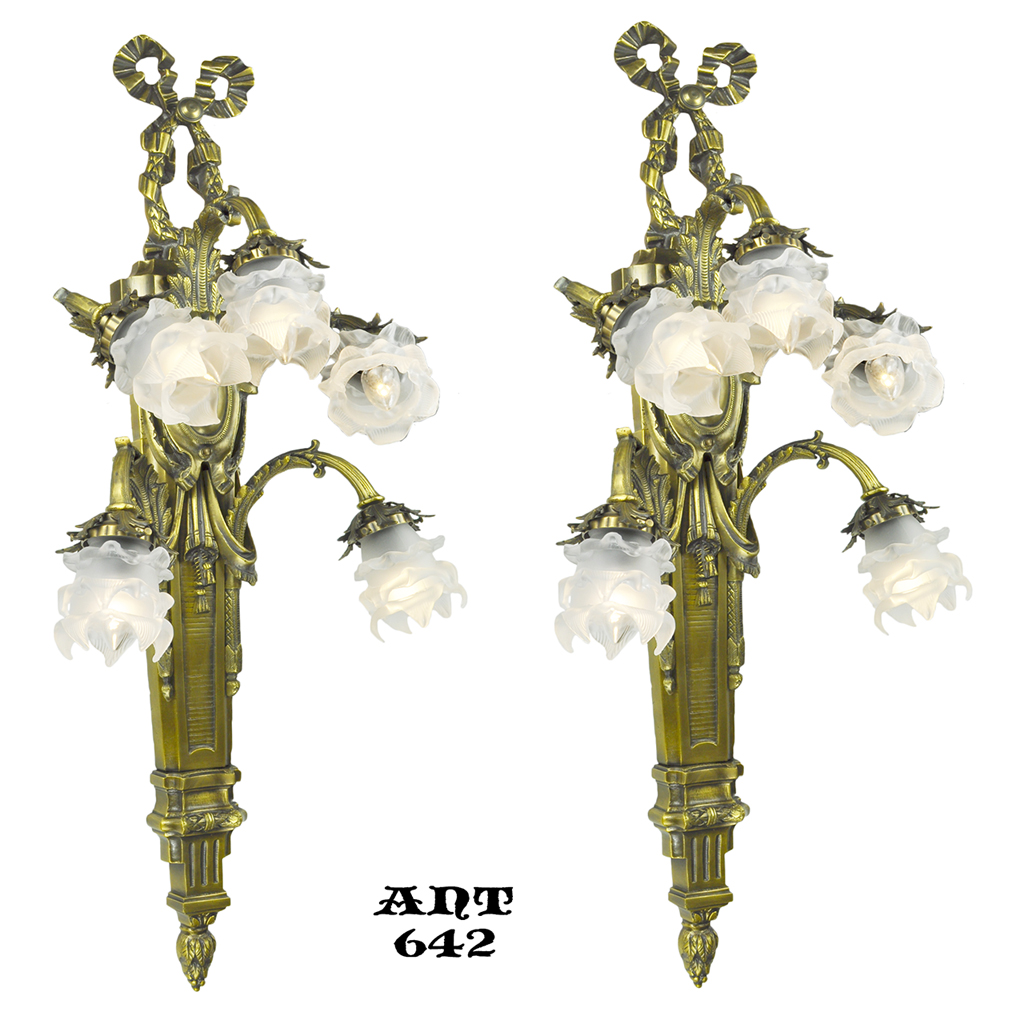 Large Flower Wall Sconces : Antique French Wall Sconces Pair of Large 5 Arm Floral Light Fixtures (ANT-642) For Sale ...