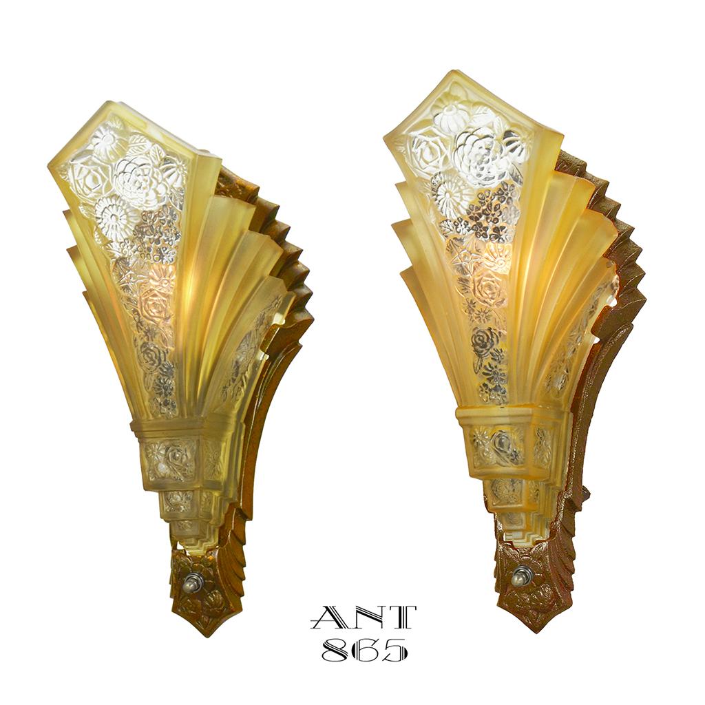 Art Deco Wall Sconces Pair Of Antique Slip Shade Martele