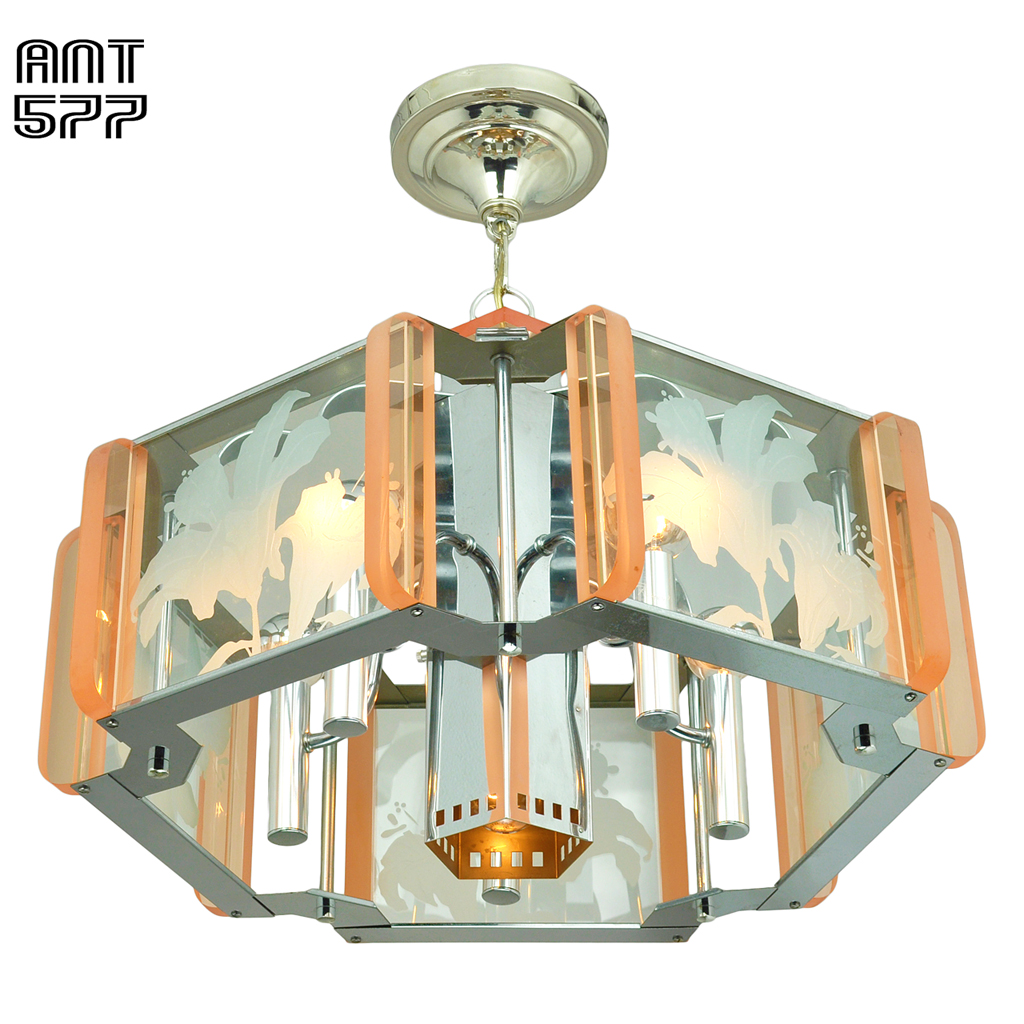 chrome nickel peach pink color chandeliers ceiling lights
