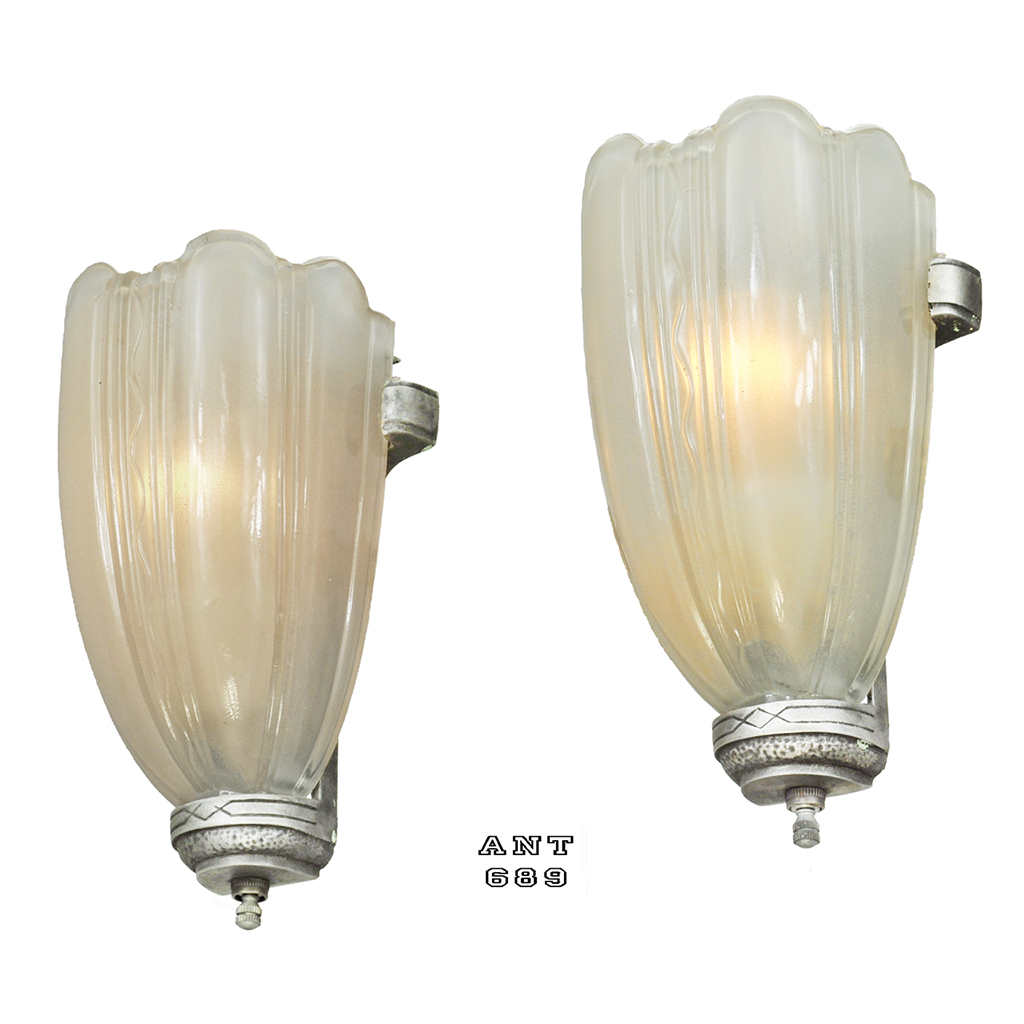 Art Deco Wall Sconce Light Fixtures : Art Deco Streamline Wall Sconces 30s Slip Shade Lights Pair Fixtures (ANT-689) For Sale ...