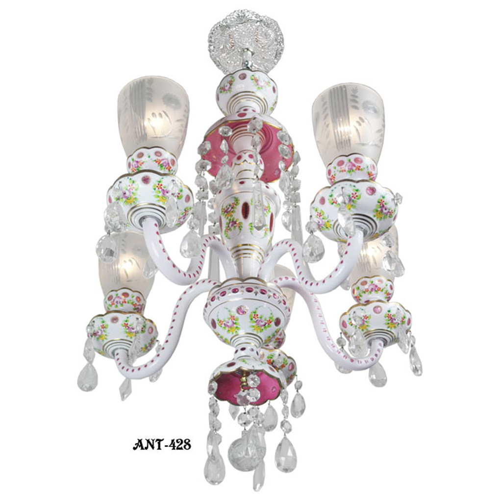 Lovely bohemian pink white art glass cut chandelier circa 1920 30 lovely bohemian pink white art glass cut chandelier circa 1920 30 ant 428 for sale aloadofball Choice Image
