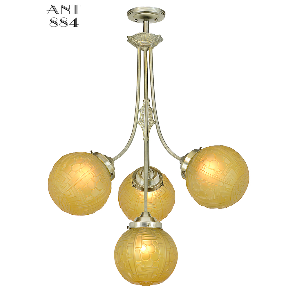 Art Nouveau Or Deco Antique Chandelier 4 Arm French