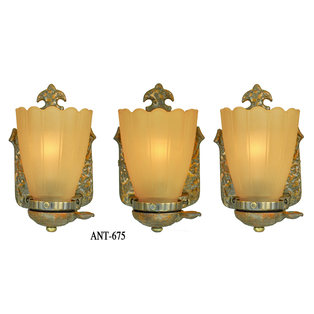 Arts And Crafts Style Wall Sconces Set Of 3 Rustic Lights