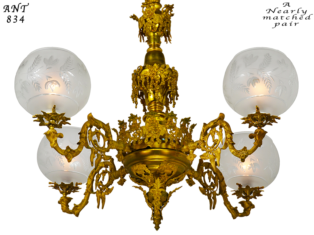 pair of antique chandeliers victorian neo rococo 4 arm gas lighting