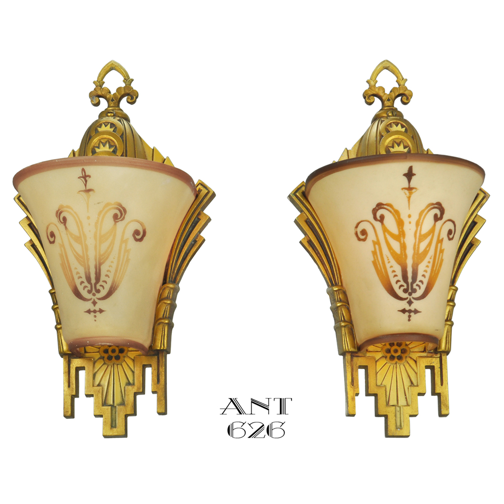 Art Deco Slip Shade Wall Sconces : Art Deco Wall Sconces Pair Slip Shade Lights Circa 1930 by Williamson (ANT-626) For Sale ...