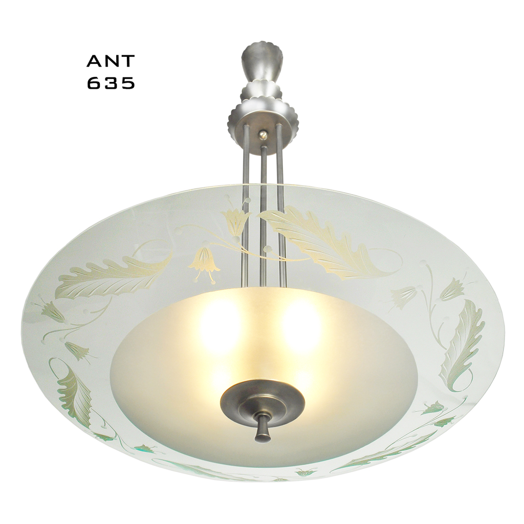 Mid Century Vintage Lights For Sale: MidCentury Modern Vintage Chandelier Lens Bowl Ceiling