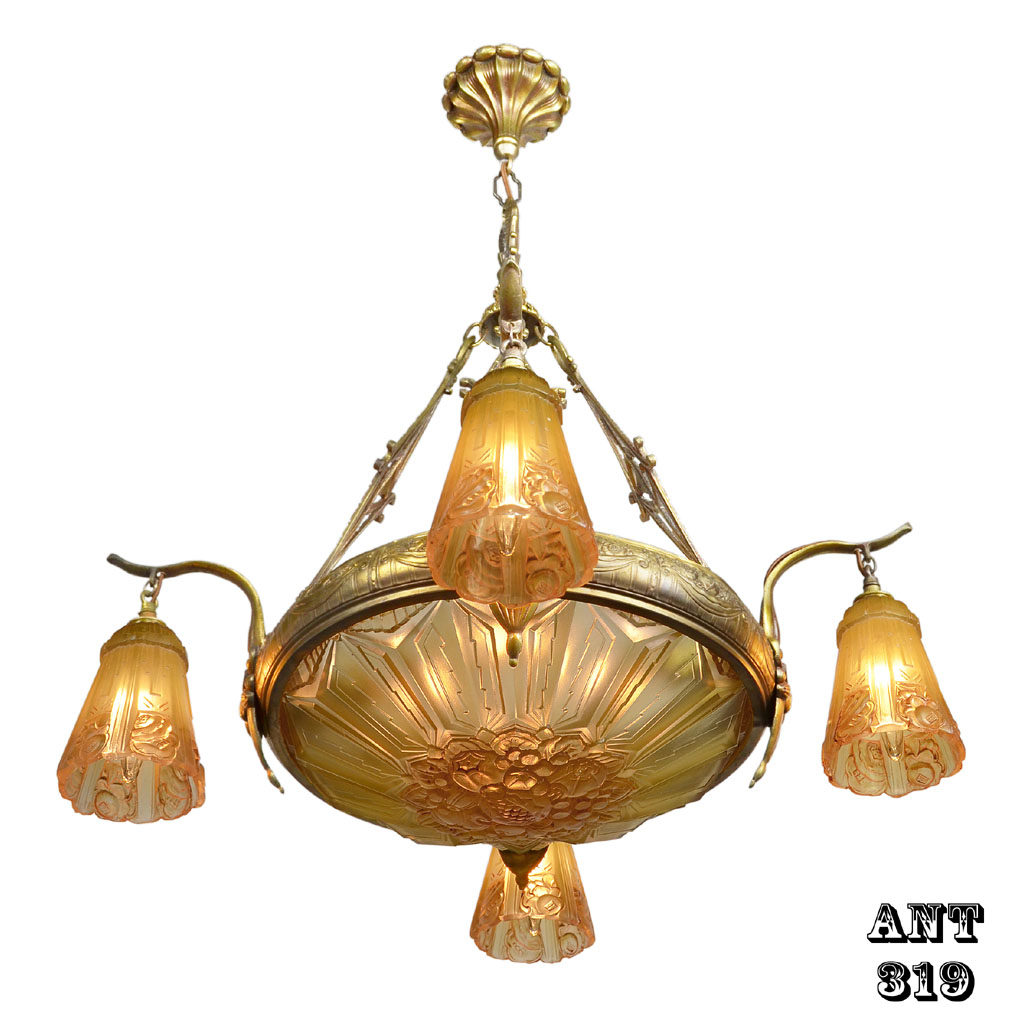 Art Nouveau Antique French Chandelier With Early Art Deco