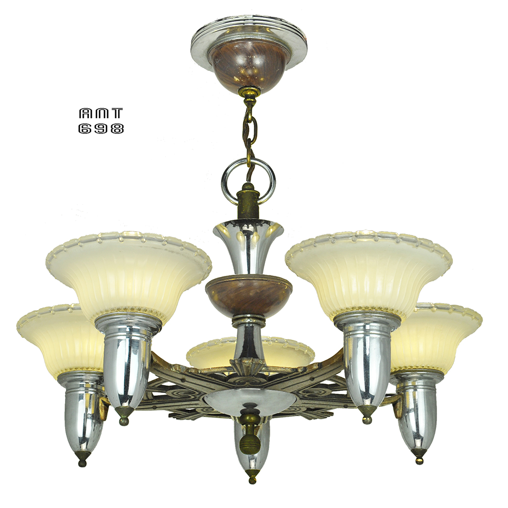 Art Deco Streamline Style Chandelier Antique 5 Light