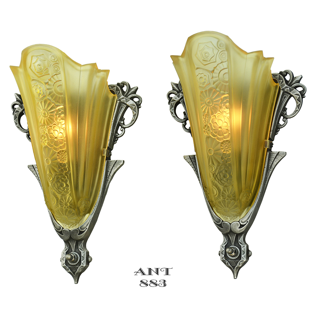art deco antique sconces pair slip shade wall lights by consolidated ant 883 for sale. Black Bedroom Furniture Sets. Home Design Ideas
