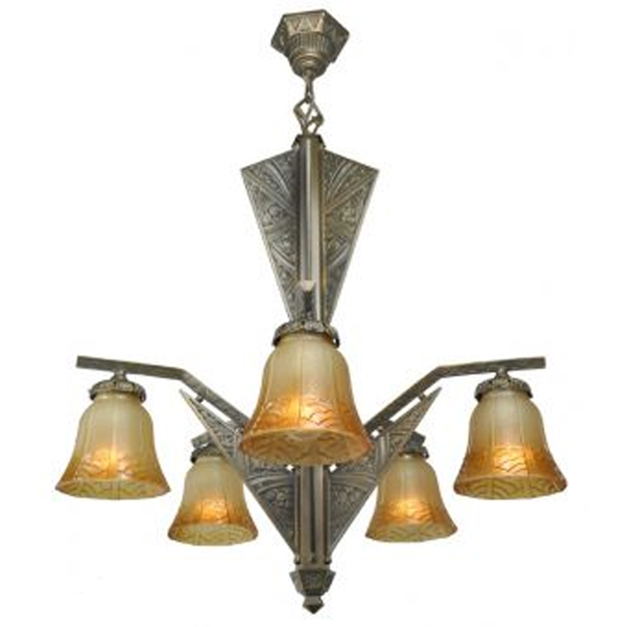 French Art Deco 6 Light Chandelier Antique Ceiling Light