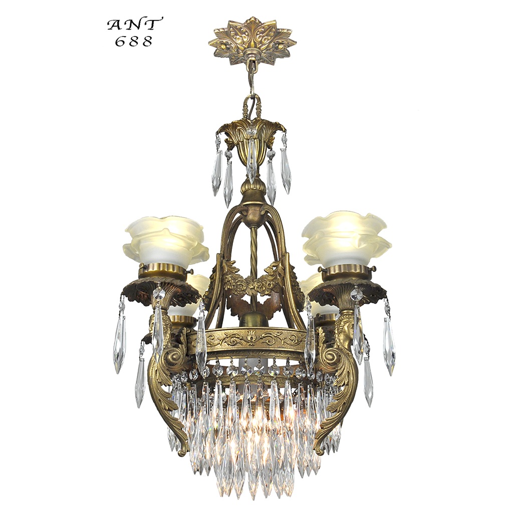 French crystal chandelier antique 4 arm figural ceiling light fixture ant 688 for sale - Ceiling crystal chandelier ...
