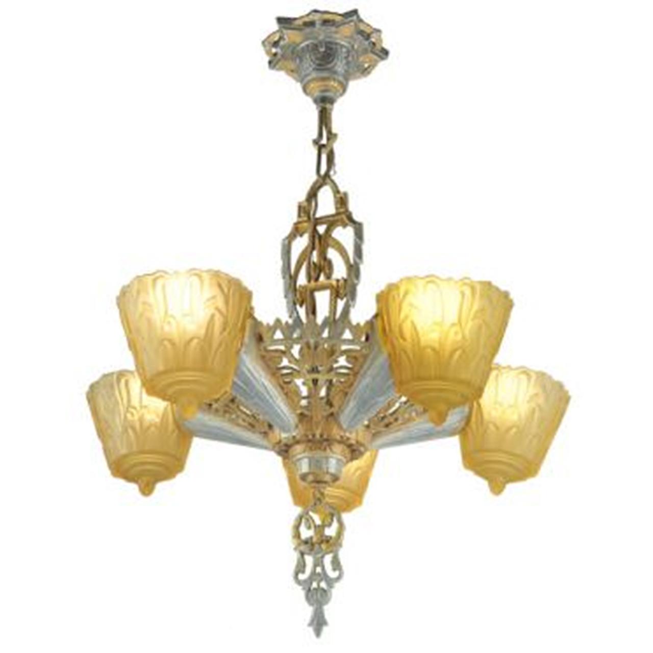 Antique art deco slip shade 1930s nile chandelier by lincoln mnf antique art deco slip shade 1930s nile chandelier by lincoln mnf ant 429 for sale arubaitofo Gallery