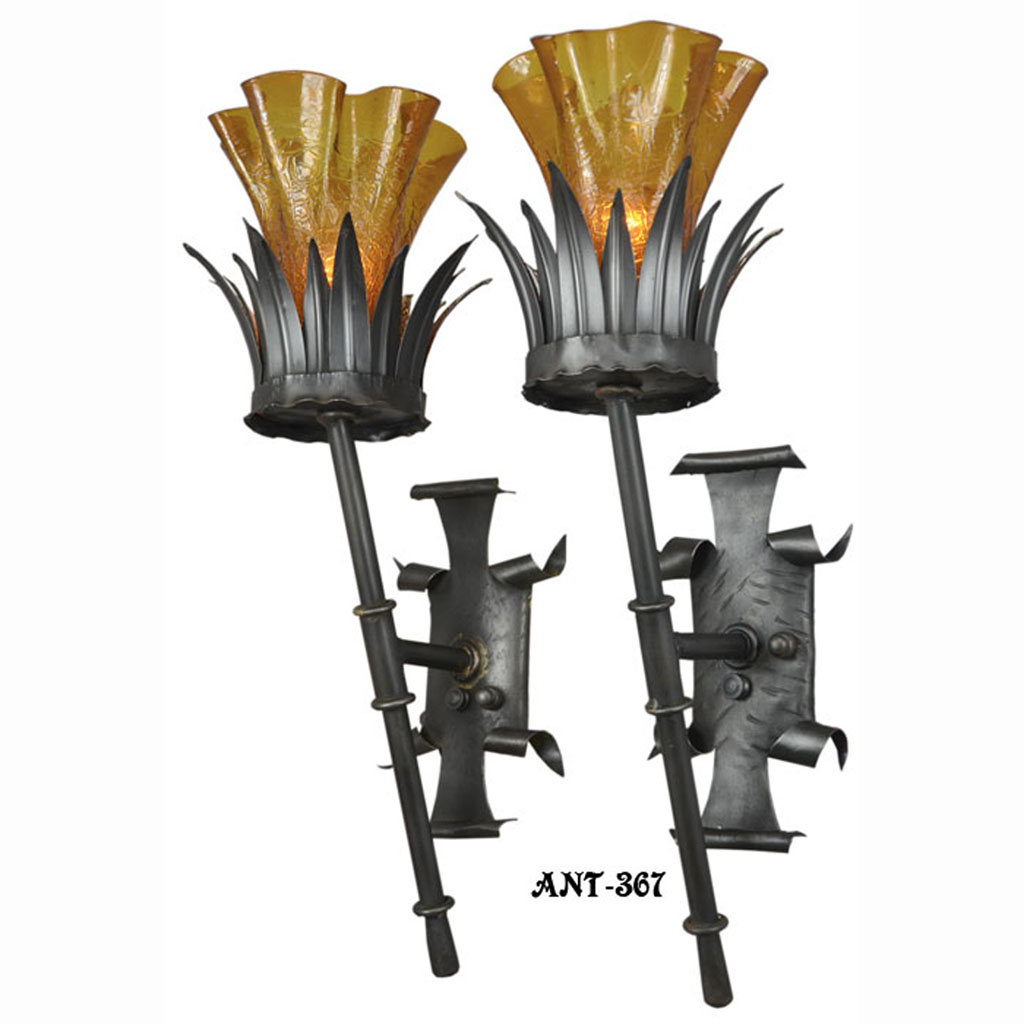 Antique pair gothic torch style wall sconce lights circa 1920 1930 antique pair gothic torch style wall sconce lights circa 1920 1930 ant 376 for sale aloadofball Images