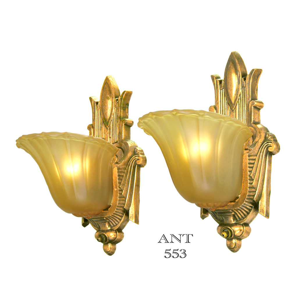 art deco antique slip shade wall sconces old gold finish lights 1930s ant 553 for sale. Black Bedroom Furniture Sets. Home Design Ideas