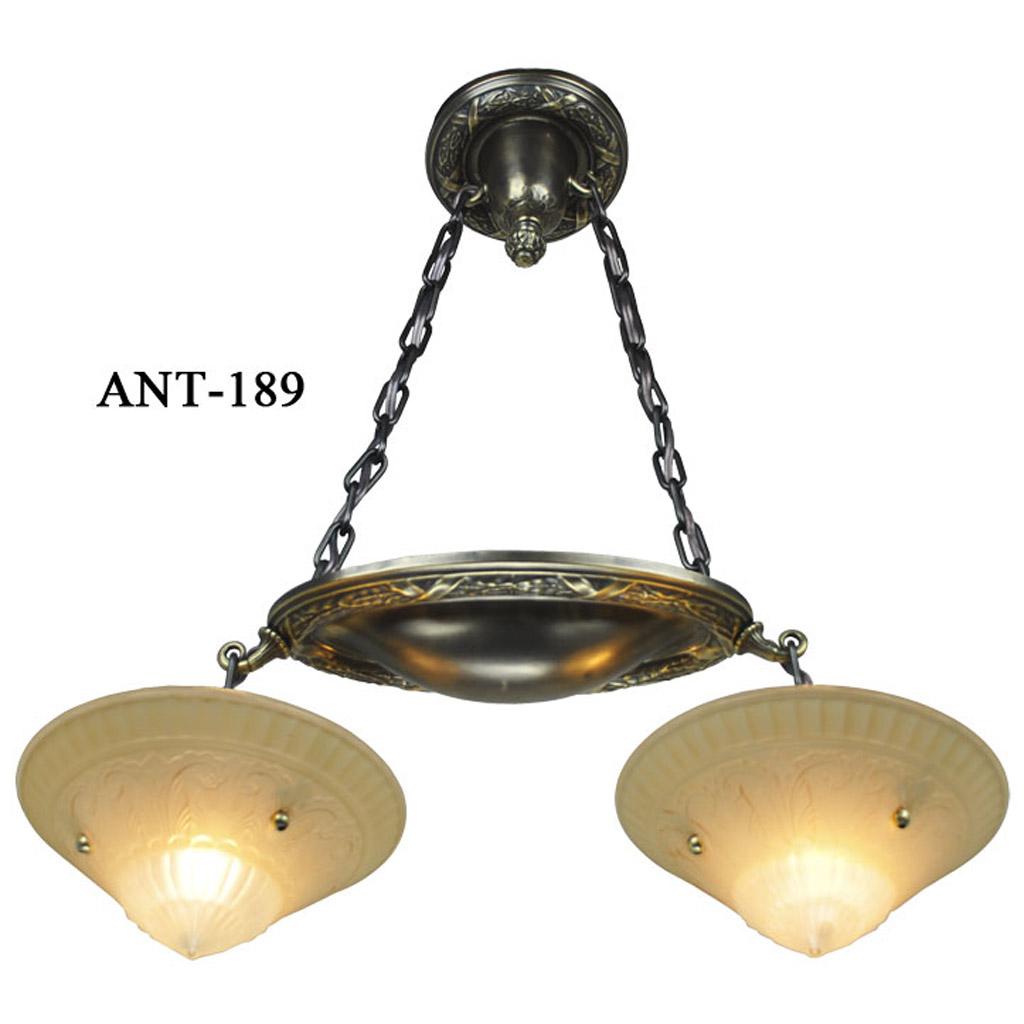 Antique Ornate 2 Light Pendant Circa 1900 10 ANT 189 For