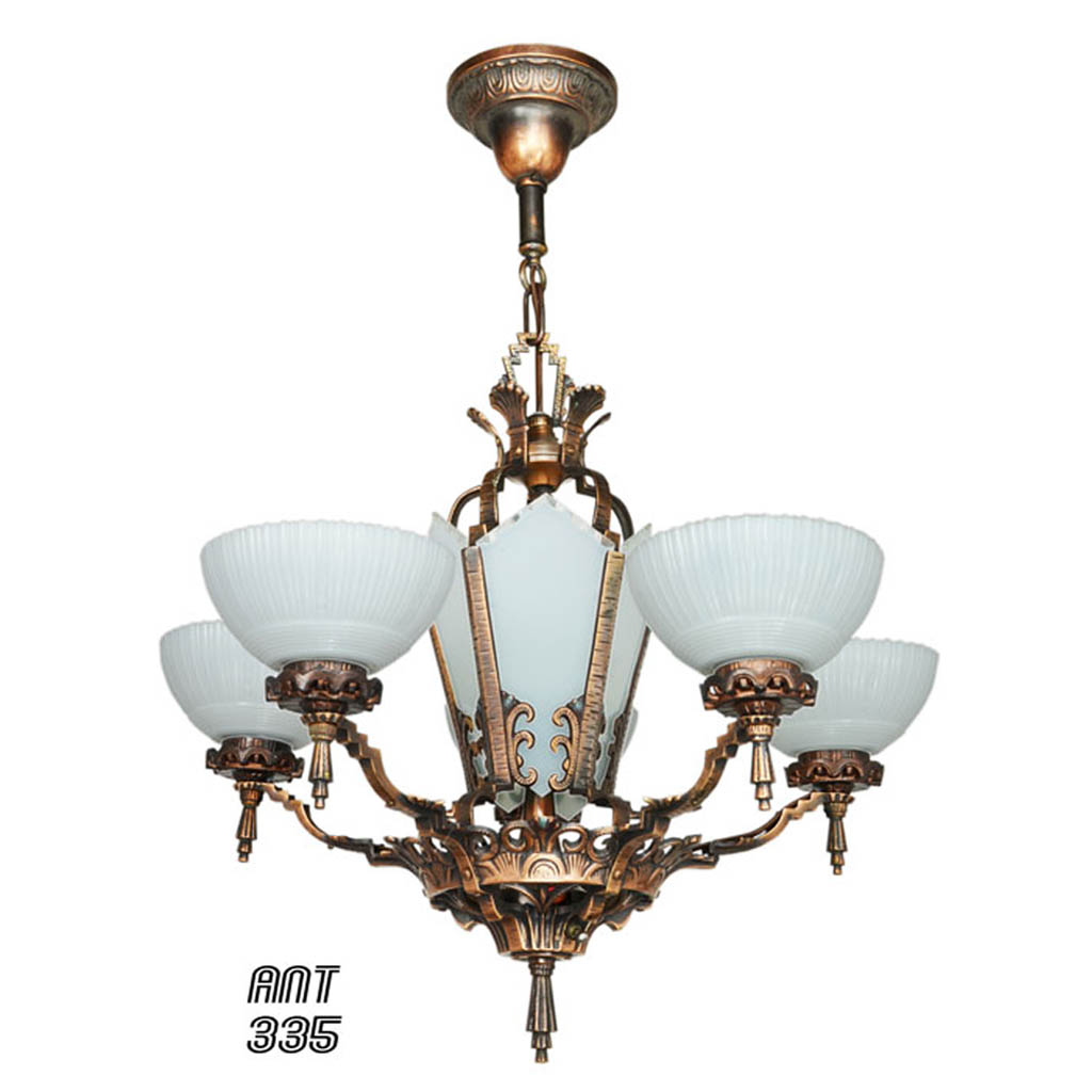 Art Deco Chandeliers Images : Antique restored red bronzed finished art deco chandelier
