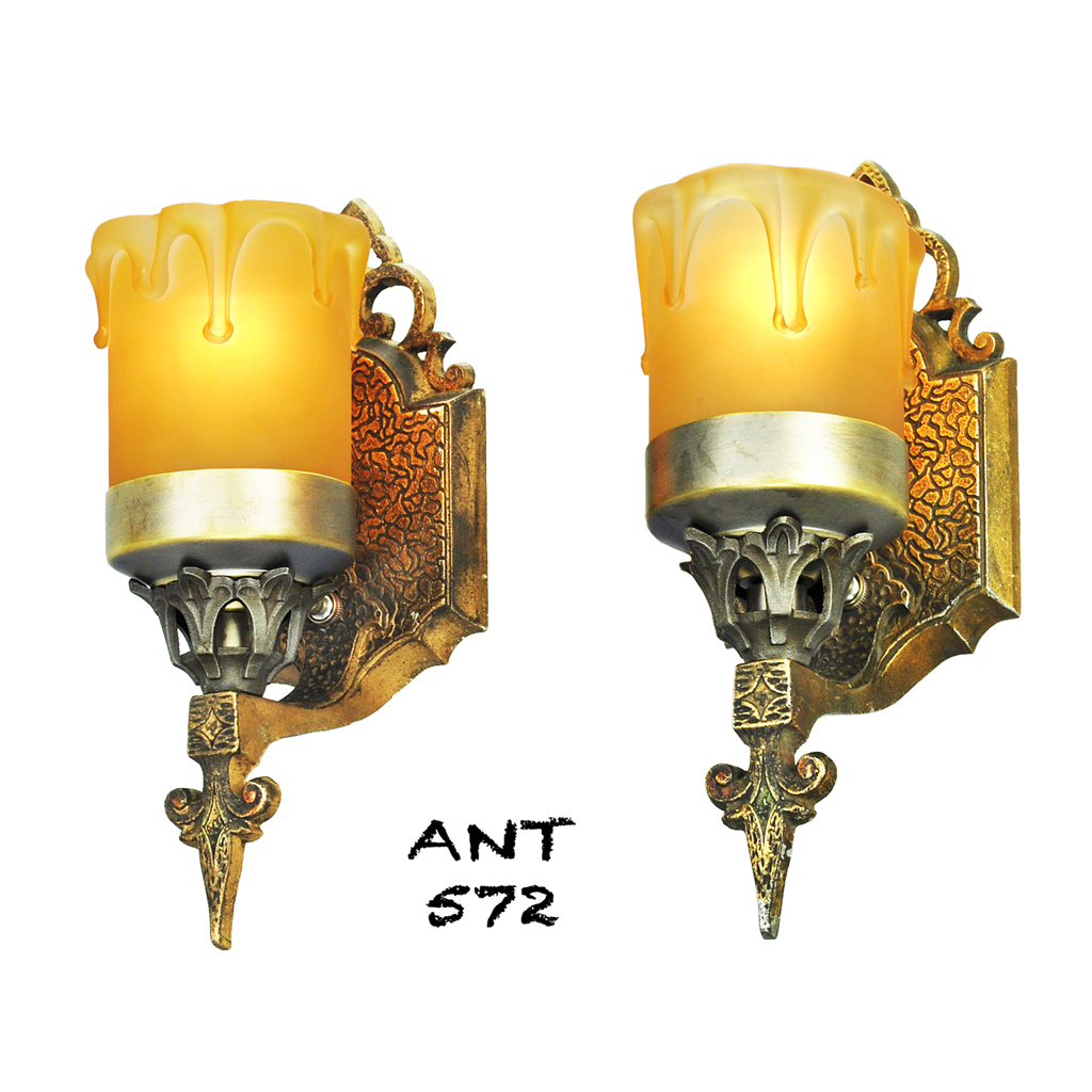 Art Deco Wall Sconce Light Fixtures : Art Deco or Arts and Crafts Wall Sconces Antique Pair Lights Fixtures (ANT-572) For Sale ...