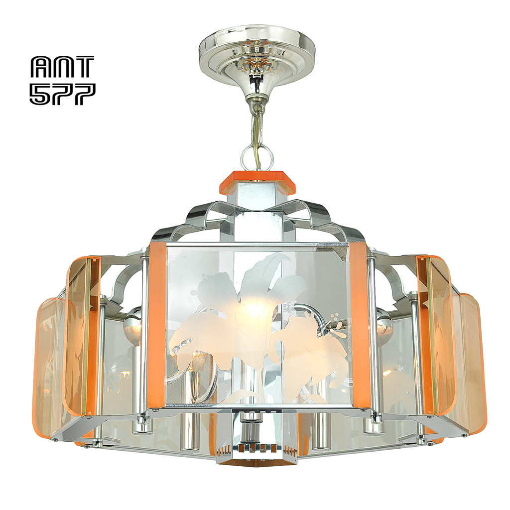 Mid Century Vintage Lights For Sale: Mid Century Modern Semi Flush Mount Ceiling Light Fixture