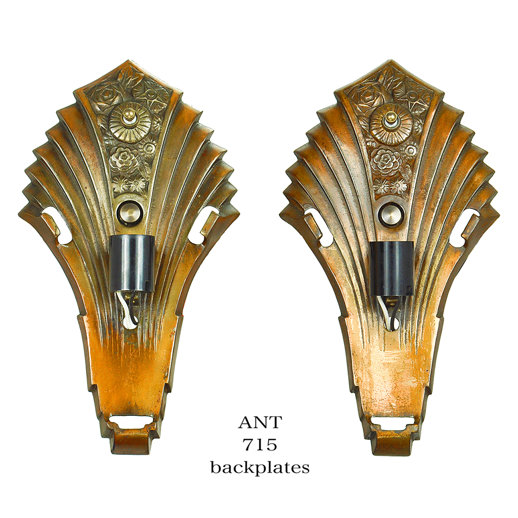 Art Deco Wall Sconces Pair of Antique Slip Shade Martele Lights 1930s (ANT-715) For Sale ...