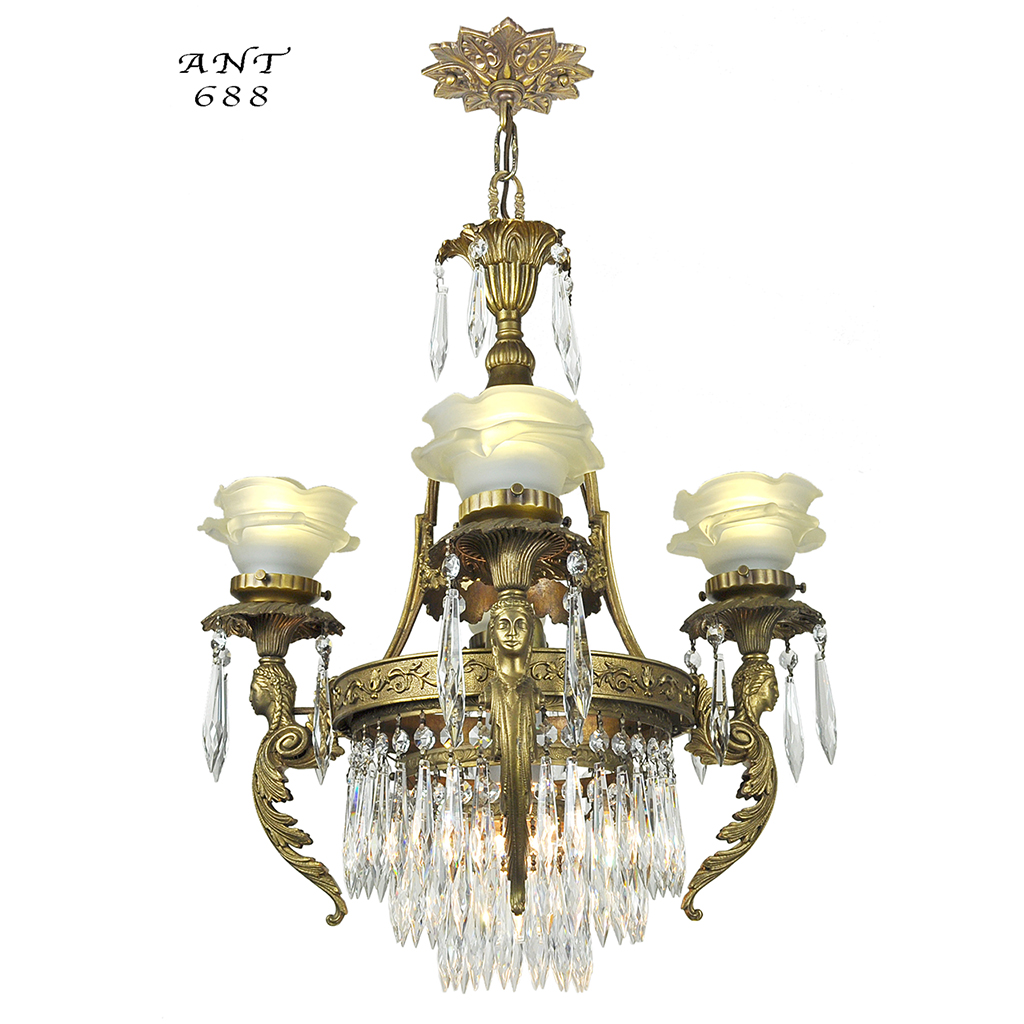 French crystal chandelier antique 4 arm figural ceiling light fixture ant 688 for sale - Chandeliers on sale online ...