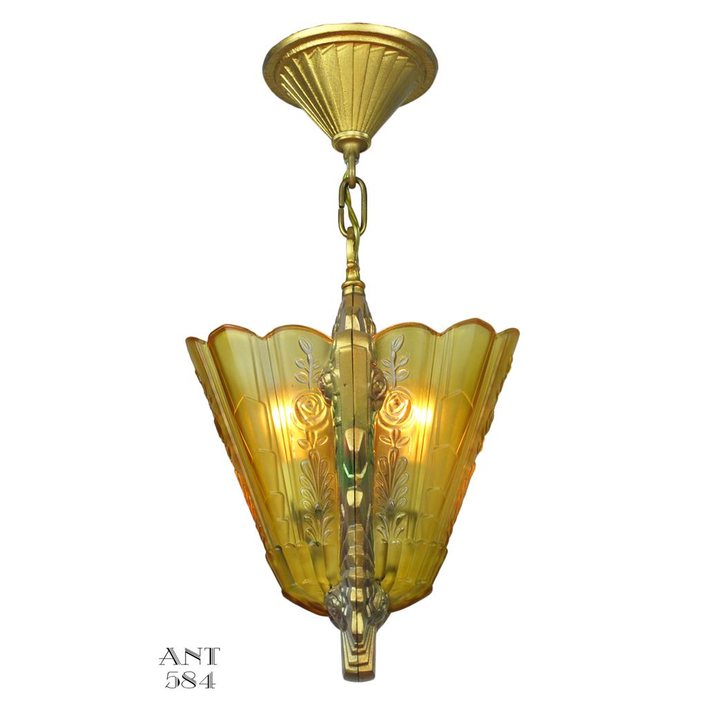 Art deco slip shade pendant light fixture by frankelite for Artistic pendant lights